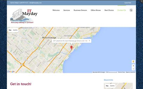 Screenshot of Contact Page itmayday.com - Contact Us | Computer Support | Computer Support In Mississauga GTA | ITMayday - captured Jan. 8, 2016
