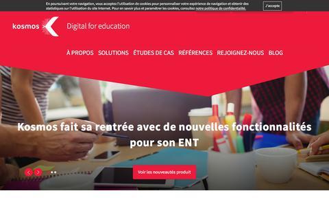 Screenshot of Home Page kosmos.fr - La solution numérique pour l'éducation - Kosmos - captured Sept. 20, 2018