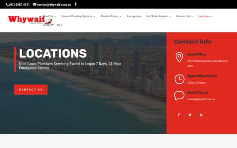 Screenshot of Locations Page whywait.com.au - Find a Plumber Near You | Search For Your Suburb | Tweed to Logan - captured Oct. 19, 2018