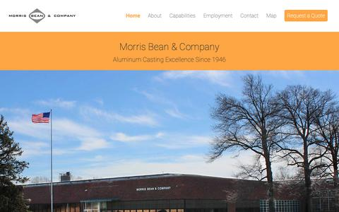 Screenshot of Home Page morrisbean.com - Morris Bean & Company - Aluminum Casting Excellence Since 1946 - captured Oct. 18, 2018