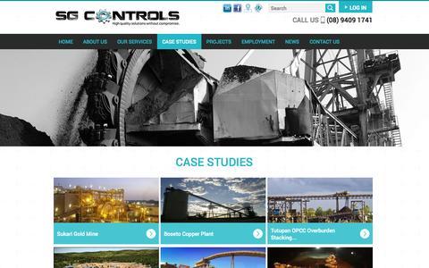 Screenshot of Case Studies Page sgcontrols.com.au - Case Studies | SG Controls - captured Nov. 2, 2014
