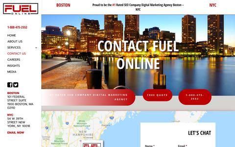 Screenshot of Contact Page fuelonline.com - Contact Fuel - A Boston & NYC SEO & Social Media Company - captured May 12, 2019