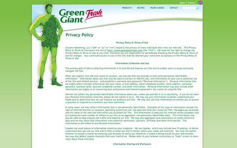 Screenshot of Privacy Page greengiantfresh.com - Privacy Policy | Green Giant Fresh US - captured Sept. 30, 2014