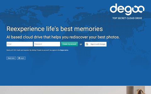 Screenshot of Home Page degoo.com - Top Secret Cloud Drive! Best zero knowledge encryption in the world! | Top Secret Cloud Drive - Degoo - captured Oct. 12, 2018