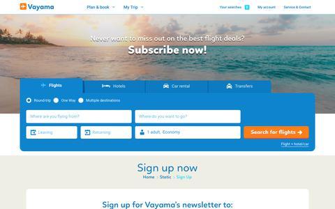 Screenshot of Signup Page vayama.com - Sign up for our newsletter | Vayama.com - captured Sept. 20, 2018