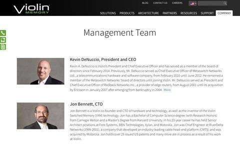 Screenshot of Team Page violin-memory.com - Management Team - Violin Memory - captured June 16, 2015