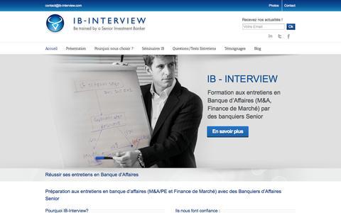 Screenshot of Home Page ib-interview.com - IB Interview Réussir ses entretiens en Banque d'Affaires - captured Sept. 30, 2014