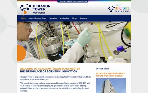 Screenshot of Home Page hexagon-tower.co.uk - Hexagon Tower, Manchester | The birthplace of science innovation - captured May 3, 2016