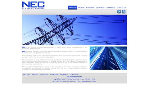 Screenshot of About Page nec-gr.com - NEC - New Energy Company - captured Oct. 7, 2014