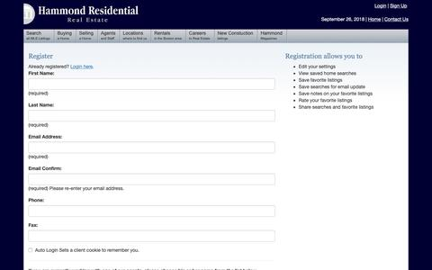 Screenshot of Signup Page hammondre.com - Boston Real Estate Hammond Residential - captured Sept. 27, 2018