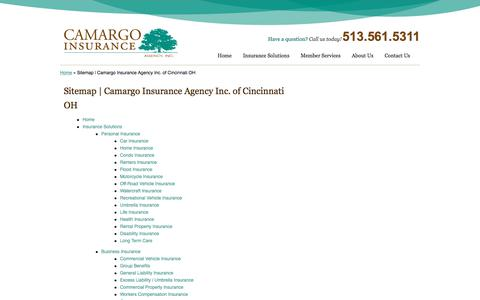 Screenshot of Site Map Page camargoinsurance.com - Sitemap | Camargo Insurance Agency Inc. of Cincinnati OH - captured Sept. 26, 2018
