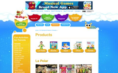 Screenshot of Products Page babytv.com - BabyTV - Nursery Rhymes Songs on iTune & Amazon - captured Sept. 19, 2014