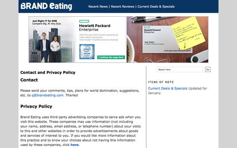 Screenshot of Privacy Page Contact Page brandeating.com - Brand Eating: Contact and Privacy Policy - captured Feb. 5, 2016