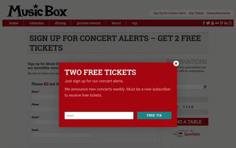 Screenshot of Signup Page musicboxcle.com - Sign Up for Concert Alerts – Get 2 Free Tickets Music Box Supper Club - captured Oct. 18, 2018