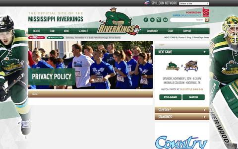 Screenshot of Privacy Page riverkings.com - Privacy Policy - captured Oct. 26, 2014