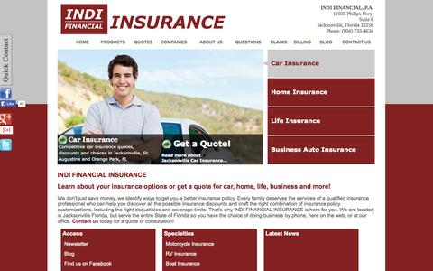Screenshot of Home Page indifinancial.com - Car Insurance, Jacksonville FL Home Insurance, Life Insurance | Jacksonville Florida, St. Augustine, FL | Discount Quotes - captured Oct. 3, 2014