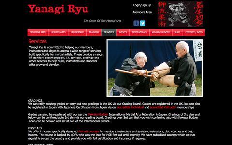 Screenshot of Services Page yanagiryu.co.uk - Martial Arts Services - captured Nov. 19, 2016