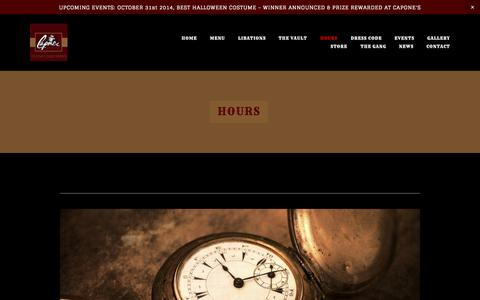 Screenshot of Hours Page caponesalameda.com - HOURS — Capone's Speakeasy - captured Nov. 1, 2014