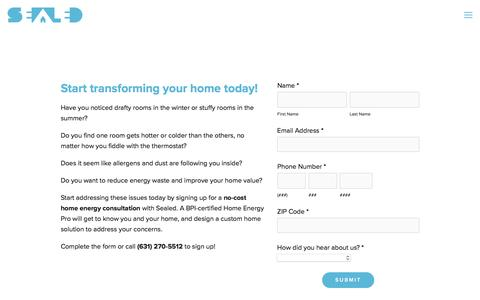 Screenshot of Signup Page sealed.com - Sign Up: No-Cost Home Energy Consultation — Sealed - captured May 9, 2017