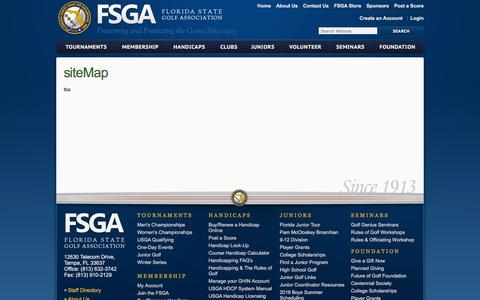 Screenshot of Site Map Page fsga.org captured Sept. 22, 2018