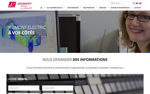 Screenshot of Contact Page jeumontelectric.com - Nous demander des informations | Jeumont Electric - captured July 21, 2016