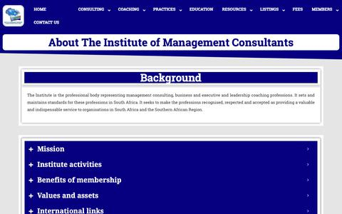 Screenshot of About Page imcsa.org.za - Institute of Management Consultants and Master Coaches of South Africa - IMCSA - captured Dec. 8, 2018