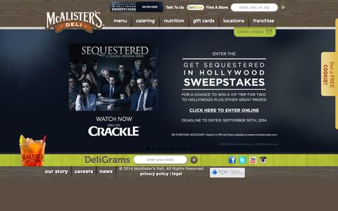 Screenshot of Home Page mcalistersdeli.com - McAlister's Deli - captured Sept. 19, 2014
