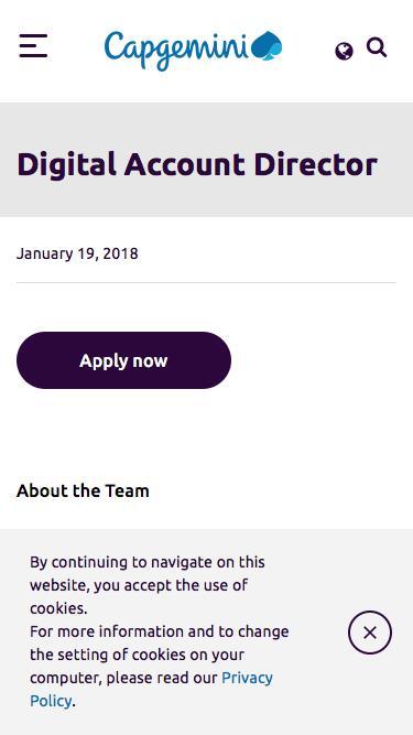 Screenshot of Jobs Page  capgemini.com - Digital Account Director – Capgemini Australia