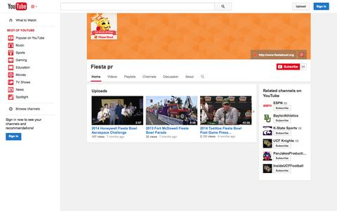 Screenshot of YouTube Page youtube.com - Fiesta pr  - YouTube - captured Oct. 23, 2014