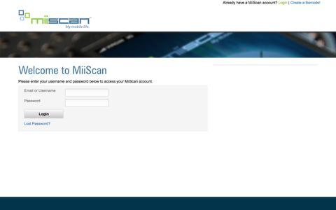 Screenshot of Login Page miiscan.com - MiiScan - captured Dec. 2, 2016