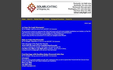 Screenshot of Blog vadaylight.com - velux, Solar Lighting of Virginia, Inc Newport News, VA Blog - captured Oct. 26, 2014