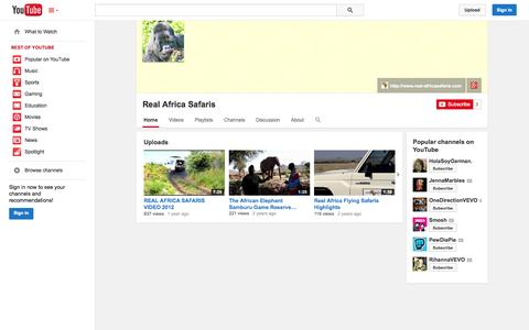 Screenshot of YouTube Page youtube.com - Real Africa Safaris  - YouTube - captured Oct. 22, 2014