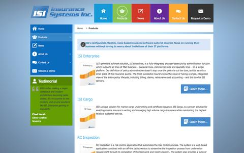 Screenshot of Products Page insurancesystems.com - Products & Insurance Software Suite - Insurance Systems Inc. - captured Oct. 10, 2014
