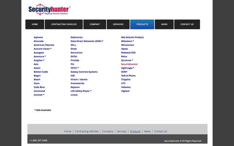 Screenshot of Products Page securityhunter.com - Products - captured Feb. 13, 2016