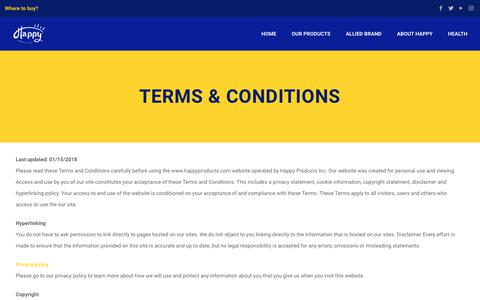 Screenshot of Terms Page happyproductspr.com - Terms & Conditions – Happy Products - captured Sept. 27, 2018