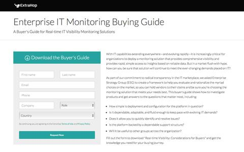 Screenshot of Landing Page extrahop.com - Enterprise IT Monitoring Buying Guide - captured July 27, 2018