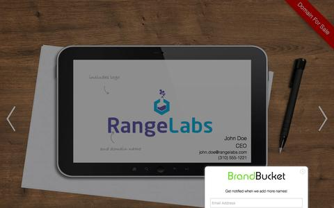 Screenshot of Home Page rangelabs.com - Rangelabs is a business name for sale on BrandBucket - captured Dec. 10, 2016
