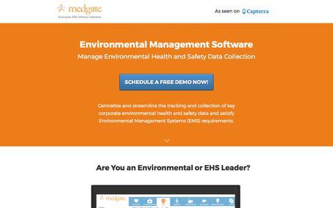 Screenshot of Landing Page medgate.com - Environmental Management Software - captured June 8, 2017