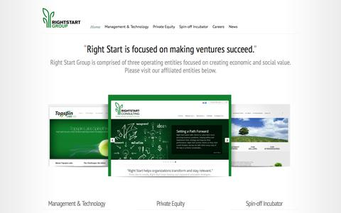 Screenshot of Home Page rightstartinc.com - Right Start Group | Guiding Ventures from Seed to Success® - captured Oct. 6, 2014