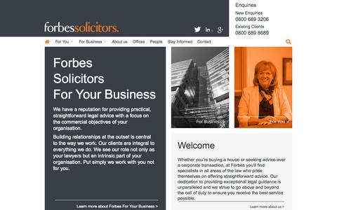 Screenshot of Home Page forbessolicitors.co.uk - Forbes Solicitors | Family, Probate, Personal Injury Law - captured Aug. 3, 2015