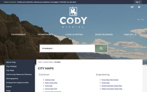 Screenshot of Maps & Directions Page cityofcody-wy.gov - City Maps | Cody, WY - captured Sept. 28, 2018