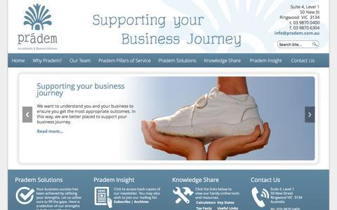 Screenshot of Menu Page pradem.com.au - Pradem, Cloud Accounting, Xero, Tax, SMSF, Business Enhancement, Analysis, Ringwood, Croydon, - captured Dec. 10, 2015
