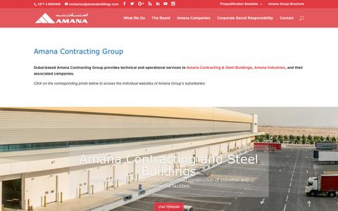 Screenshot of Home Page amanacontractinggroup.com - Amana Contracting Group - Technical & Operational Services to Amana - captured Jan. 27, 2017