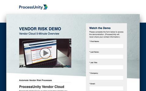 Screenshot of Landing Page processunity.com - Vendor Risk Management Software Demo | ProcessUnity - captured March 27, 2018