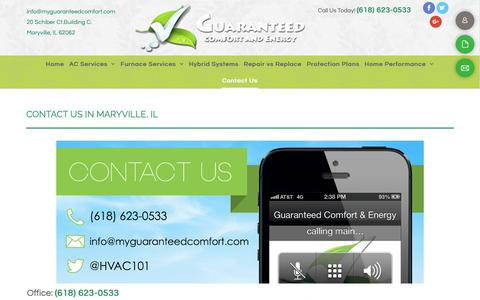 Screenshot of Contact Page guaranteedcomfortandenergy.com - AC Experts - Maryville, IL - Guaranteed Comfort - captured Nov. 4, 2018