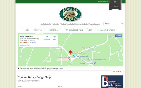 Screenshot of Contact Page burleyfudge.co.uk - Contact Us | Burley Fudge Shop | Buy Fudge Online - captured Oct. 7, 2018