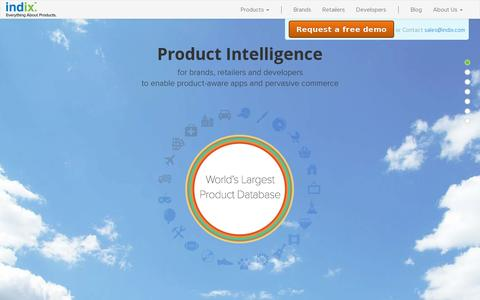 Screenshot of Home Page indix.com - Indix | All-in-one Product Intelligence Platform - captured July 11, 2014