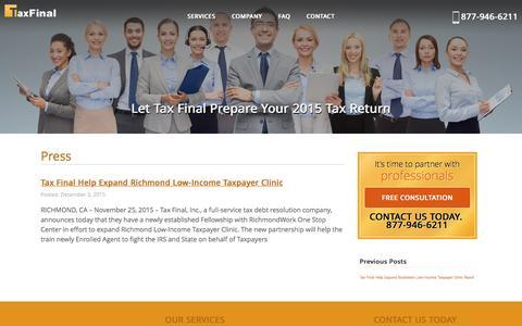 Screenshot of Press Page taxfinal.com - Tax Final | Press - captured Aug. 19, 2016