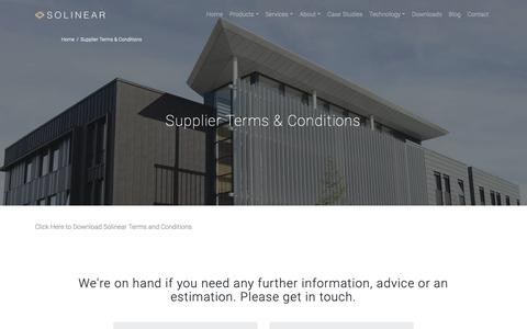 Screenshot of Terms Page solinear.co.uk - Supplier Terms & Conditions - Solinear - captured Oct. 20, 2018