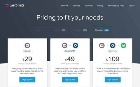 Landingi Pricing: Sign up for a 14-day free trial